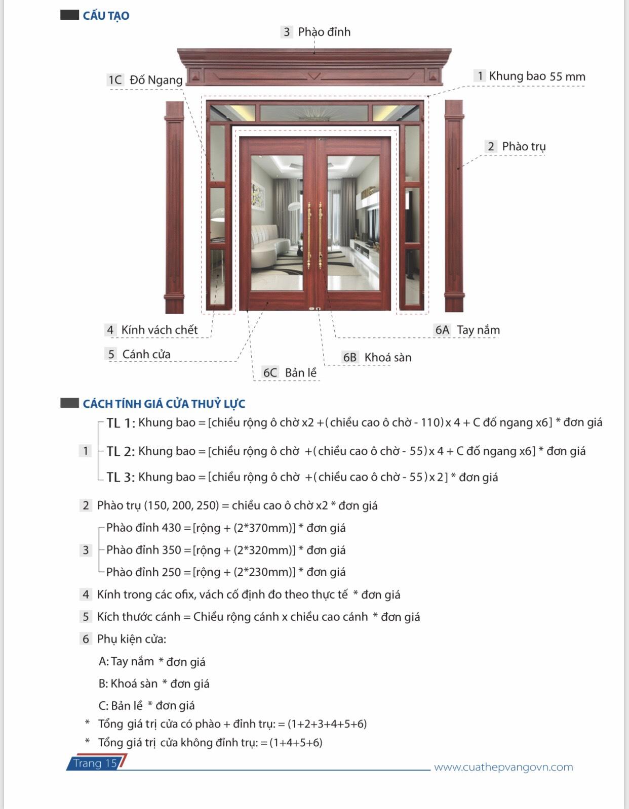 Cách tính chi tiết cửa cao cấp Royal